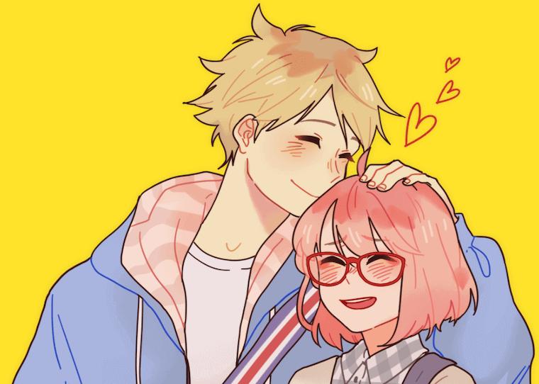 an anime image of a couple