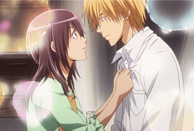 an anime image of a couple looking each other