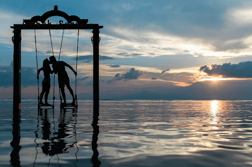 Couple standing in the sea