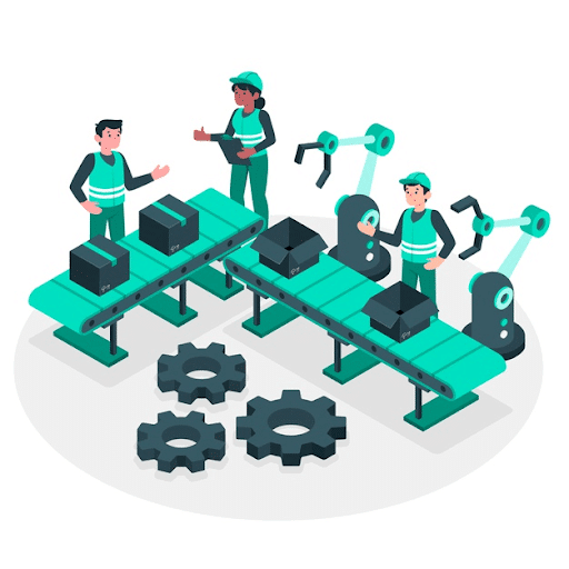 Manufacturing process concept illustration