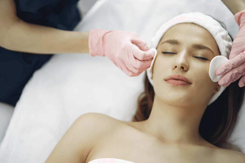 woman getting a facial treatment (beauty therapy image)