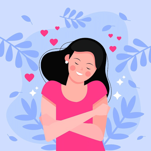 illustration of woman with her eyes closed, hugging herself