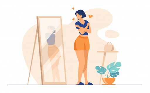 Narcissist lady standing in front of a mirror and admiring her reflection