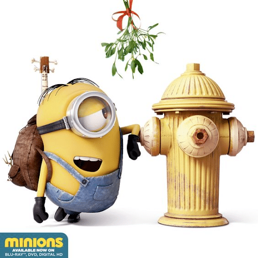 Stuart the Minion flirting with a yellow fire hydrant