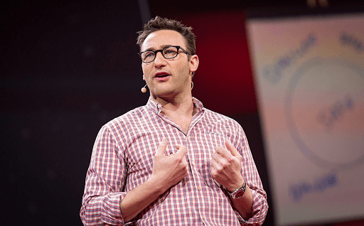 Simon Sinek giving his talk 'How great leaders inspire action' in TED
