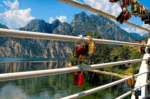 Love locks on a railing of a bridge