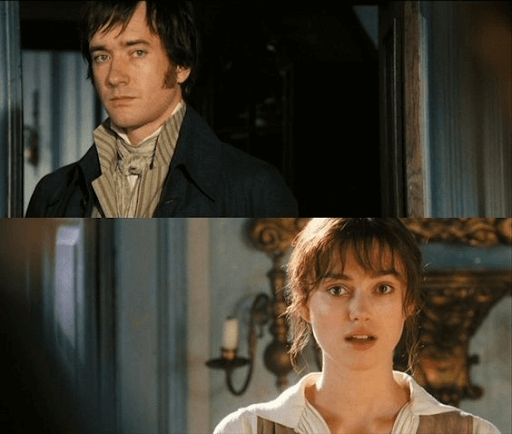Joined photo of Mr. Darcy and Elizabeth in which they seem to be talking to and looking at each other