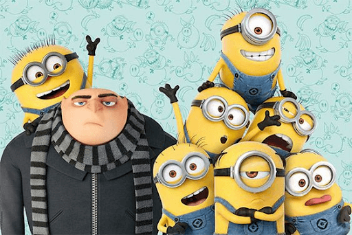 Irritated Gru with 7 of his minions