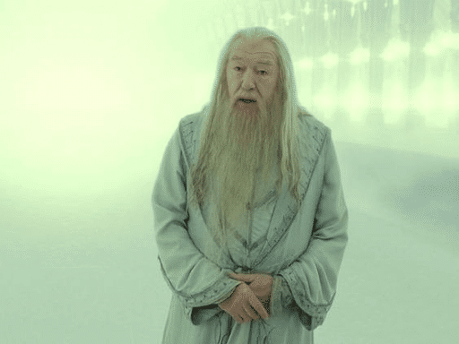 Hatless Dumbledore talking in a misty background