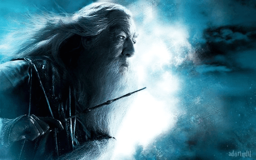 Dumbledore with his wand and wind blowing his hair