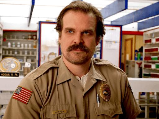 Jim Hopper in Stranger Things wearing his cop uniform