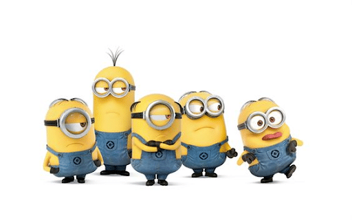 Minions Stuart, Kevin, Mel, Dave, and 1 other minion