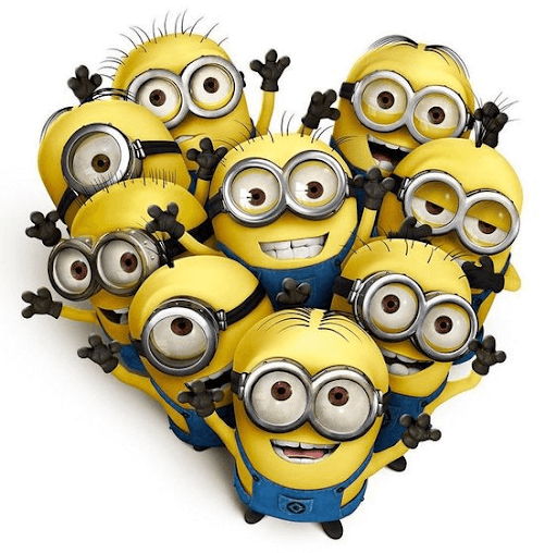 Nine minions raising both of their hands while looking up