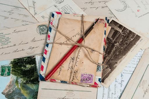 Letter envelopes bundled together with twine