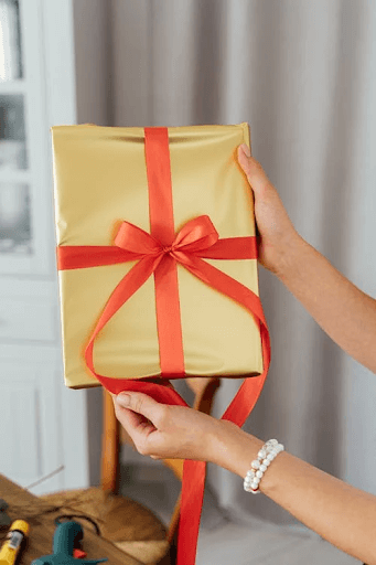 Person Holding a Gift with Red Ribbon
