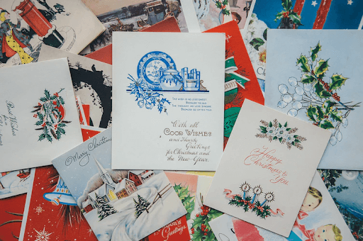 A pile of greeting cards